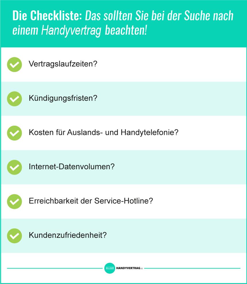 Handyvertrag für Studenten Checkliste